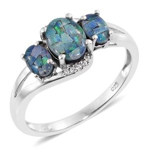 Australian Mosaic Opal, Cambodian Zircon Platinum Over Sterling Silver Ring (Size 7.0) TGW 1.85 cts.