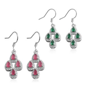 Simulated Green and Red Diamond Silvertone Set of 2 Dangle Earrings TGW 7.36 cts.