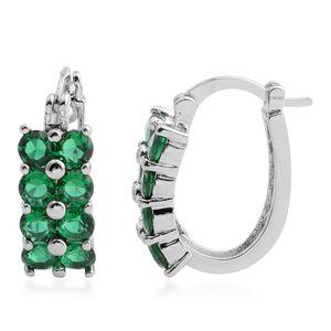Simulated Green Diamond Silvertone Hoop Earrings TGW 4.64 cts.