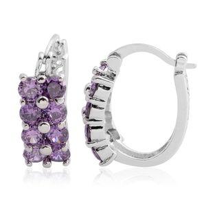 Simulated Purple Diamond Silvertone Hoop Earrings TGW 4.64 cts.