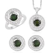 Russian Diopside, White Zircon Sterling Silver Earrings, Ring (Size 9) and Pendant With Chain TGW 5.42 cts.