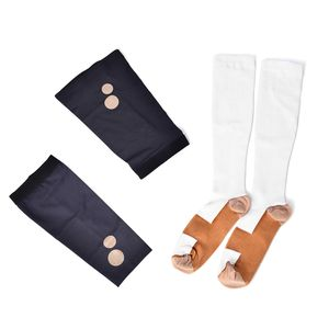 White Unisex Anti-Fatigue Copper Compression Socks with Knee and Elbow Sleeve (L)