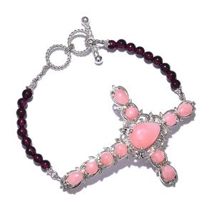 Peruvian Pink Opal, Mozambique Garnet Platinum Over Sterling Silver Cross Bracelet with Toggle Clasp (7.50 In) TGW 19.10 cts.