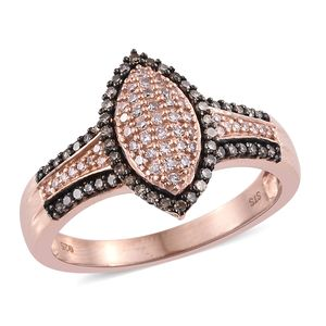 Natural Pink and Champagne Diamond Vermeil RG Over Sterling Silver Ring (Size 7.0) TDiaWt 0.50 cts, TGW 0.50 cts.
