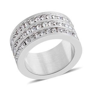 Simulated Diamond Stainless Steel Men's Eternity Band Ring (Size 5.5) TGW 1.79 cts.
