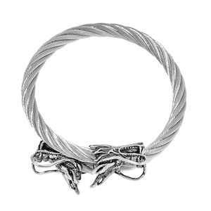 White Austrian Crystal Black Oxidized Stainless Steel Dragon Bangle (7 in) TGW 0.20 cts.