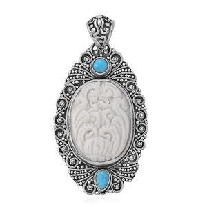 Bali Goddess Collection Carved Bone, Arizona Sleeping Beauty Turquoise Sterling Silver Pendant without Chain TGW 0.89 cts.