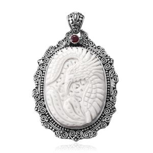 Bali Goddess Collection Carved Bone, Niassa Ruby Sterling Silver Pendant without Chain TGW 0.38 cts.