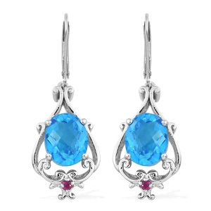 Caribbean Quartz, Ruby Platinum Over Sterling Silver Earrings TGW 7.75 cts.
