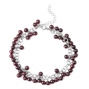 Mozambique Garnet Stainless Steel Drop Charm Anklet (7.5-11 in) TGW 100.00 cts.
