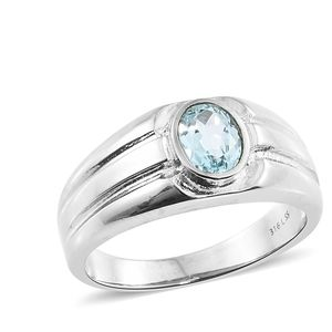 Sky Blue Topaz Stainless Steel Men's Signet Ring (Size 12.0) TGW 1.45 cts.