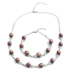 Freshwater Brown Pearl, Austrian Crystal Silvertone Bracelet (7.5 in) and Necklace (18.00 In)