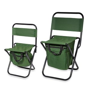 Set of 2 Green Portable Canvas and Iron Back Support Folding Chair with Storage Pouch (24x10.5x10.5 in, 20x7.5x9 in)