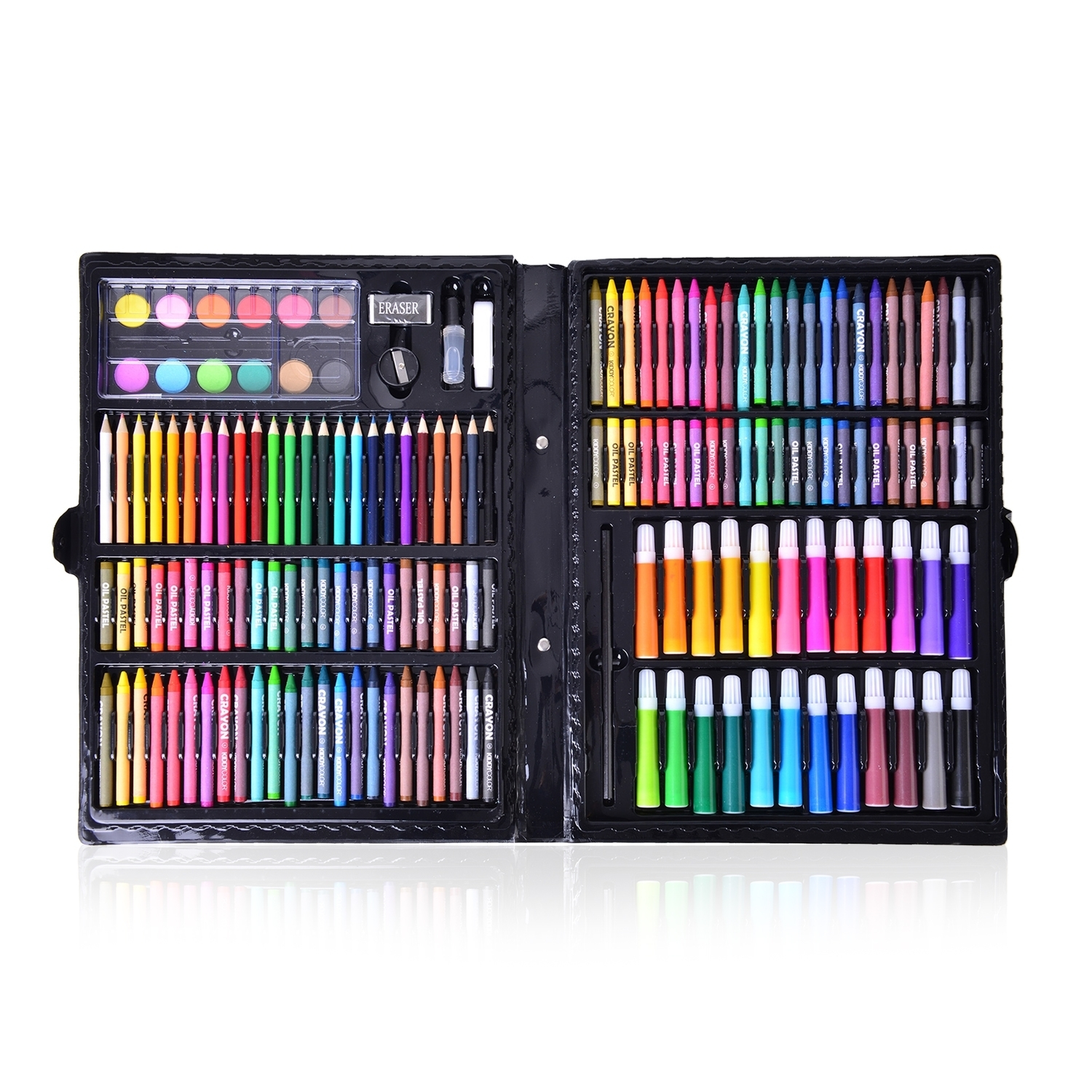150 Piece Deluxe Art Supply Set (Coloring Pencils, Crayons,Oil Pastels, Markers, Water Paint, Eraser, Pencil, Sharpener, Liquid Glue, and White Glue)