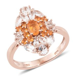 Salamanca Fire Opal, White Topaz Vermeil RG Over Sterling Silver Ring (Size 8.0) TGW 2.12 cts.