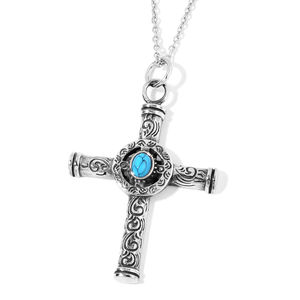 Blue Howlite Celtic Cross Necklace in Black Oxidized Stainless Steel 2.50 ct tw