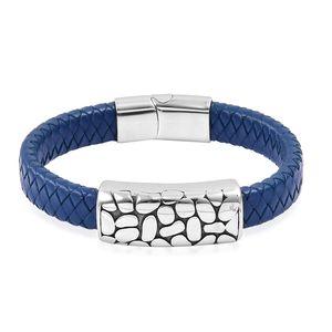 Black Oxidized Stainless Steel, Blue Genuine Leather Men's Bracelet (8.50 In)