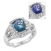 Color Change Fluorite, White Topaz Platinum Over Sterling Silver Ring (Size 9.0) TGW 4.75 cts.