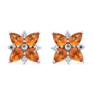 Salamanca Fire Opal, Cambodian Zircon Platinum Over Sterling Silver Flower Stud Earrings TGW 2.54 cts.