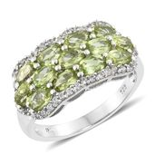 Nitin's Knockdown Deals Hebei Peridot, Cambodian Zircon Platinum Over Sterling Silver Ring (Size 10.0) TGW 3.95 cts.
