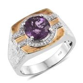 Purple Fluorite, Cambodian Zircon 14K YG and Platinum Over Sterling Silver Men's Signet Ring (Size 10.0) TGW 4.72 cts.