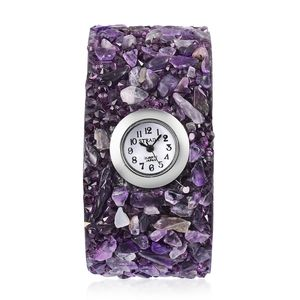 STRADA Japanese Movement Bracelet Watch with Amethyst, Purple Austrian Crystal Band and Stainless Steel Back TGW 157.00 cts.