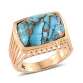 GP Mojave Blue Turquoise 14K YG Over Sterling Silver Ring (Size 7.0) TGW 12.33 cts.