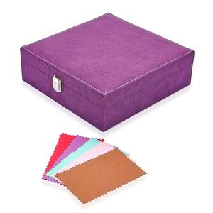 Purple Velvet Jewelry Box (8x2.5x8 in) and Set of 5 Multi Color Silver Polishing Cleaning Cloth (4x3 in)