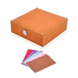 Tan Velvet Jewelry Box (7.9x7.9x2.6 in) and Multi Color Set of 5 Silver Polishing Clean Cloth (4.3x2.7 in)