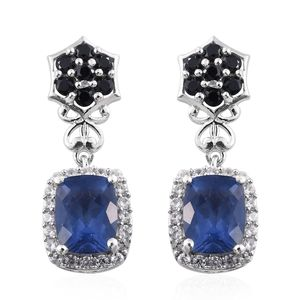Color Change Fluorite, Thai Black Spinel, Cambodian Zircon Platinum Over Sterling Silver Earrings TGW 6.34 cts.