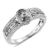 Green Tanzanite, Cambodian Zircon Platinum Over Sterling Silver Ring (Size 10.0) TGW 1.26 cts.