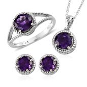 Lusaka Amethyst Platinum Over Sterling Silver Earrings, Ring (Size 11) and Pendant With Chain (20 in) TGW 6.20 cts.