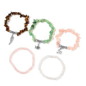 Multi Gemstone Black Oxidized Silvertone Set of 5 Bracelet (Stretchable) TGW 334.00 cts.