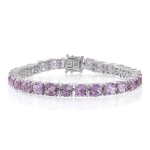 Rose De France Amethyst Sterling Silver Tennis Bracelet (7.50 In) TGW 26.88 cts.