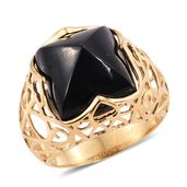 GP Australian Black Tourmaline Ring in 14K YG Over Sterling Silver 23.13 ct tw (Size 7.0)