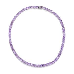 Rose De France Amethyst Sterling Silver Tennis Necklace (18 in) TGW 64.32 cts.