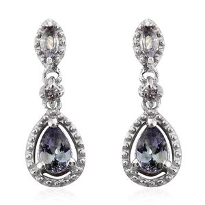 Green Tanzanite Platinum Over Sterling Silver Drop Earrings TGW 1.14 cts.
