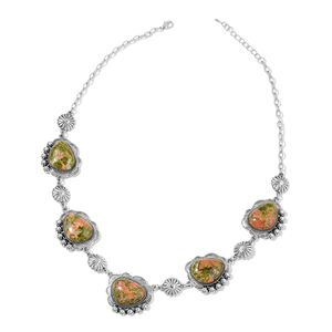 Unakite Black Oxidized Silvertone Floral Station Necklace (24-26 in) TGW 269.50 cts.