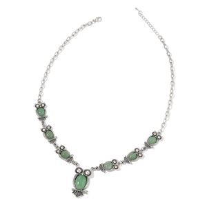 Green Aventurine, White Austrian Crystal Black Oxidied Silvertone Necklace (22 in) TGW 127.50 cts.