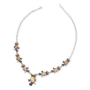 Picture Jasper, Austrian Crystal Black Oxidized Silvertone Owl Necklace (22 in) TGW 138.00 cts.