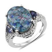 Australian Mosaic Opal, Catalina Iolite, Cambodian Zircon Platinum Over Sterling Silver Ring (Size 7.0) TGW 9.10 cts.