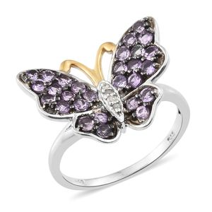 Mauve Sapphire, Diamond Accent 14K YG and Platinum Over Sterling Silver Butterfly Ring (Size 7.0) TGW 1.80 cts.