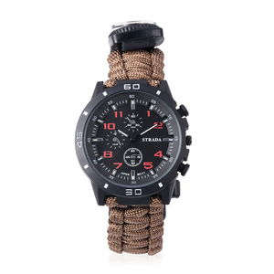 STRADA Japanese Movement Water Resistant Multi-functional Sport Watch with Brown Nylon Strap and Stainless Steel Back