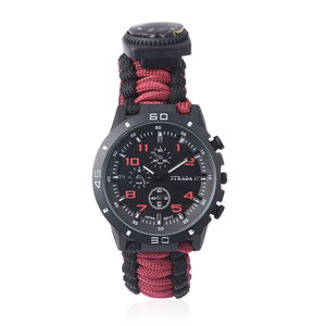 STRADA Japanese Movement Water Resistant Multi-functional Sport Watch with Red & Black Nylon Strap and Stainless Steel Back