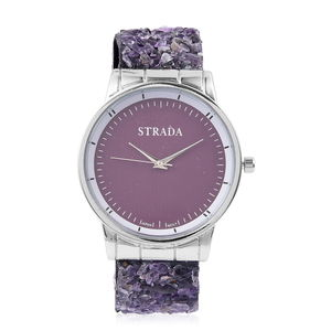 STRADA Japanese Movement Watch in Silvertone with Amethyst Chips Band and Stainless Steel Back TGW 75.00 cts.
