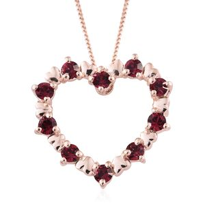 14K RG Over Sterling Silver Heart Pendant With ION Plated RG Stainless Steel Chain (20 in) Made with SWAROVSKI Ruby Crystal
