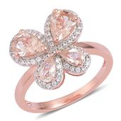 Marropino Morganite, White Zircon 14K RG Over Sterling Silver Butterfly Ring (Size 10.0) TGW 1.98 cts.