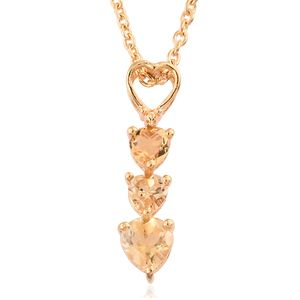 Brazilian Citrine 14K YG Over Sterling Silver Trilogy Heart Pendant With ION Plated YG Stainless Steel Chain (20 in) TGW 0.89 cts.