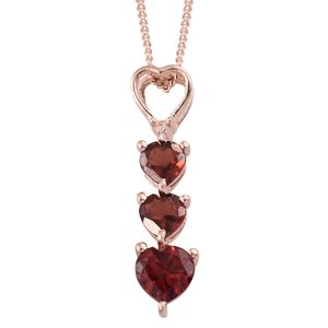 Mozambique Garnet 14K RG Over Sterling Silver Trilogy Heart Pendant With ION Plated RG Stainless Steel Chain (20 in) TGW 1.18 cts.