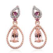 Marropino Morganite, Morro Redondo Pink Tourmaline, Cambodian Zircon Vermeil RG Over Sterling Silver Drop Earrings TGW 1.46 cts.